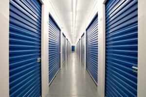 Inside a self storage facility