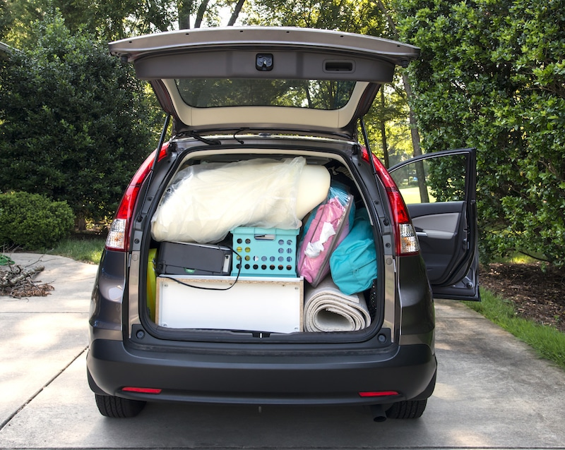 Car loaded for college move in